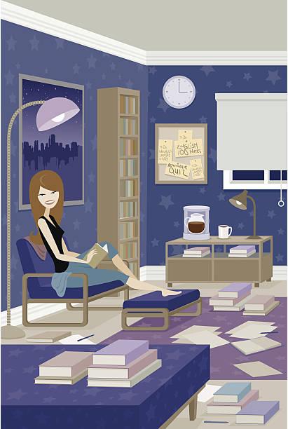 Woman Studying vector art illustration