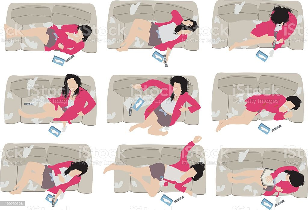 Woman suffering from cold and flu vector art illustration