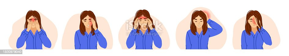 istock Woman suffering from different types of headaches. Sinus, tension, hypertension, migraine, and cluster headache. 1320979040