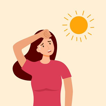 Woman suffering from heat and sweaty dehydration from strong sunlight in flat design. Hot climate in summer.