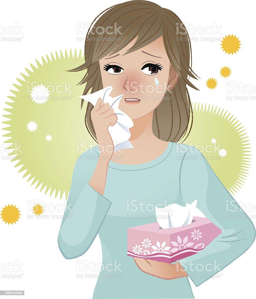Woman suffering from pollen Allergies vector art illustration