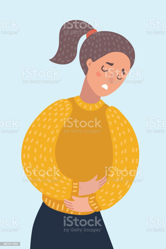 Woman suffering from stomachache pain. Girl having period bellyache. Health. vector art illustration