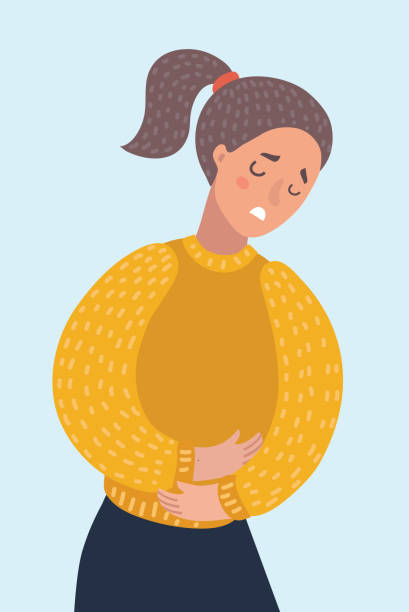 Woman suffering from stomachache pain. Girl having period bellyache. Health. Vector cartoon illustration of woman suffering from stomachache pain. Girl having period bellyache. Health. abdomen stock illustrations