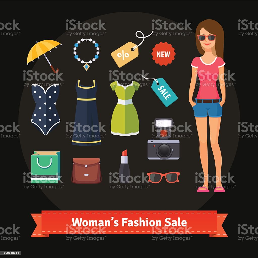 Woman summer fashion sale set with model vector art illustration