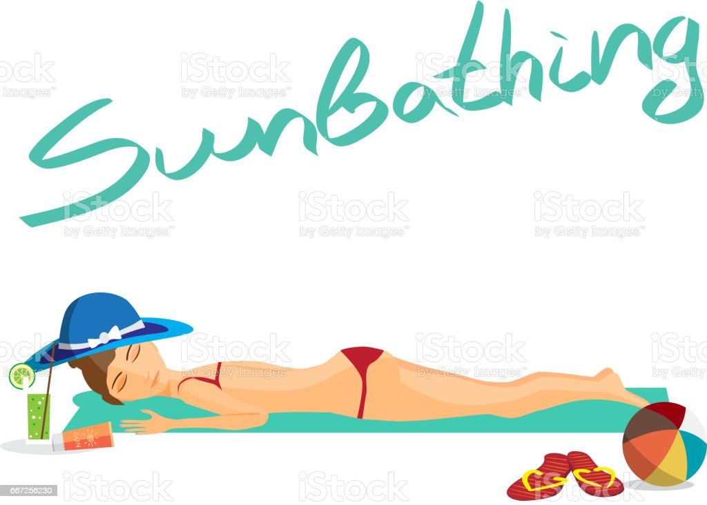 Woman sunbathes on the beach on sand vector art illustration