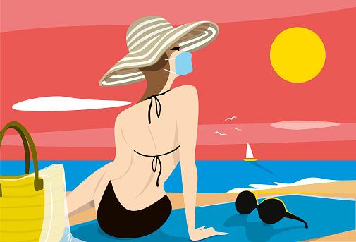 Woman Sunbathing Face Mask Covid19