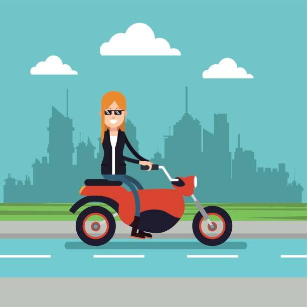 ilustrações de stock, clip art, desenhos animados e ícones de woman sunglasses driving motorcycle urban background - young woman running city