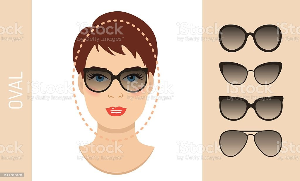 2d8057879e7 Woman sunglasses shapes for oval women face type. Vector illustration.  royalty-free woman