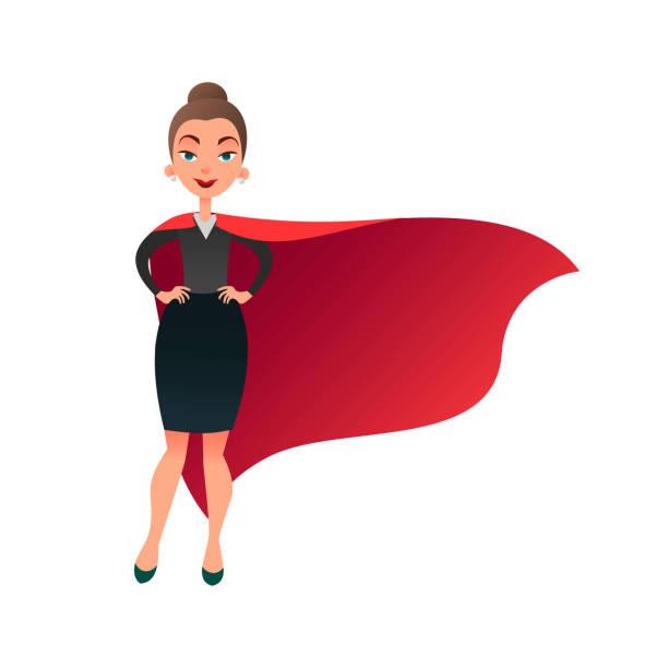 frau-superhelden-comic-figur. wunder-frau mit kap der super mann. zuversichtlich geschäftsfrau fokussiert auf erfolg. schöne weibliche superhelden flach - superwoman stock-grafiken, -clipart, -cartoons und -symbole