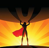 A vector illustration of a woman superhero lifting a big globe. Wide space available for your copy. AICS5 file included.