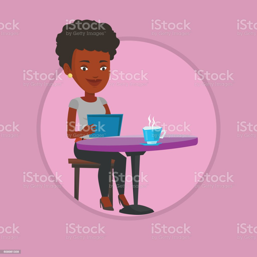 Woman surfing in the social network in cafe royalty-free woman surfing in the social network in cafe stock vector art & more images of adult