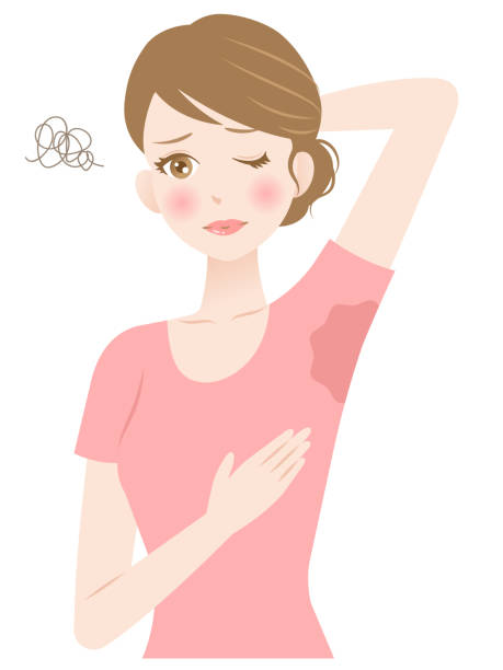 woman sweating under armpit. hygiene and health care concept beautiful young woman holding her arm up showing sweat-soaked T-shirt. isolated on white background wet clothing women t shirt stock illustrations
