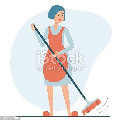 istock Woman sweeping the floor using broom isolated 1311637323