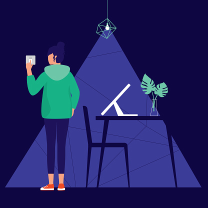 Woman Switching On Or Off The Lights In Her Room. Lifestyle Concept. Vector Illustration.