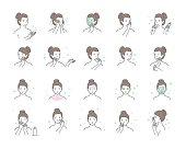 Woman take care about face. Steps how to apply facial serum. Vector isolated illustrations set. Skin care routine, simple woman face with a different facial procedures.