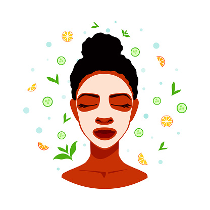 A woman takes a spa day. Face skin treatment, skincare. Applying a facial cream, mask. Relaxed woman with closed eyes. Skin care.