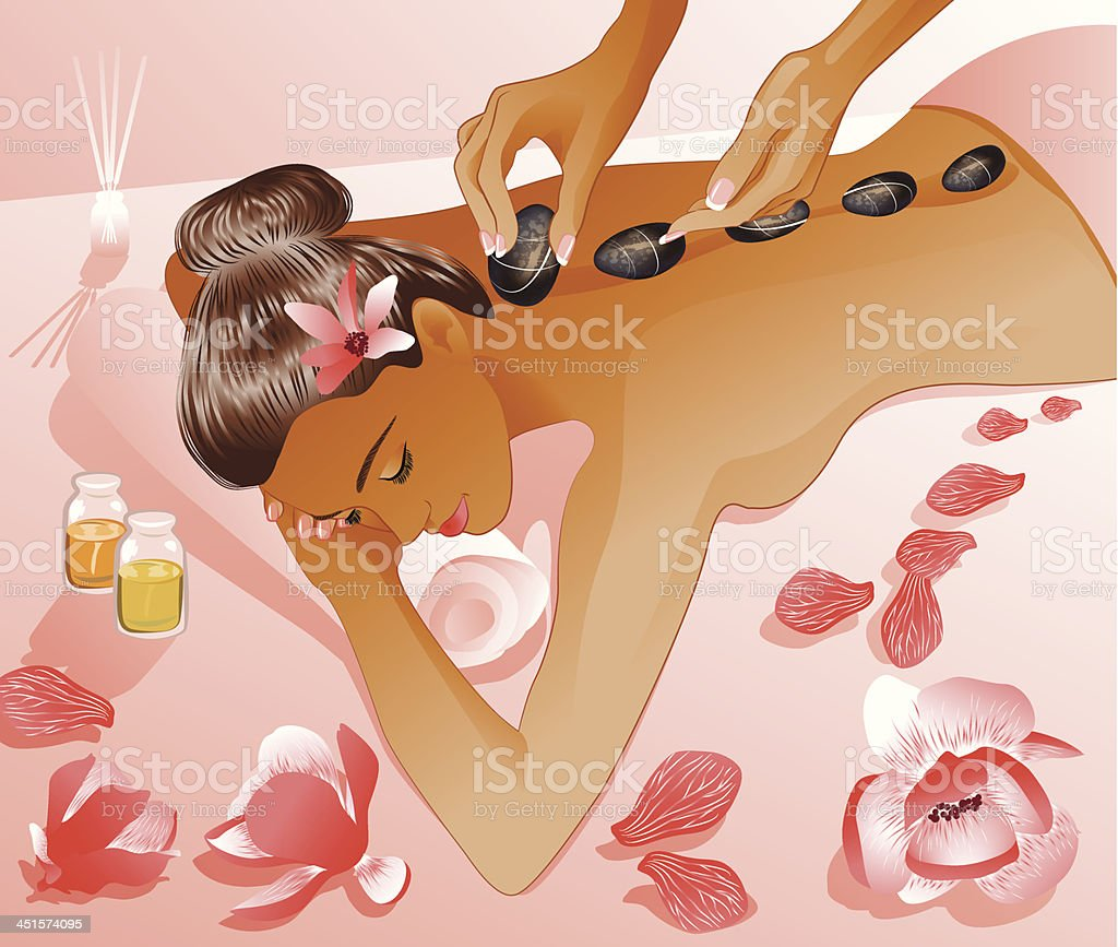 woman takes a spa therapy royalty-free stock vector art