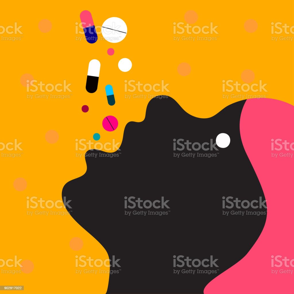 Royalty Free Woman Taking A Pill Clip Art Vector Images