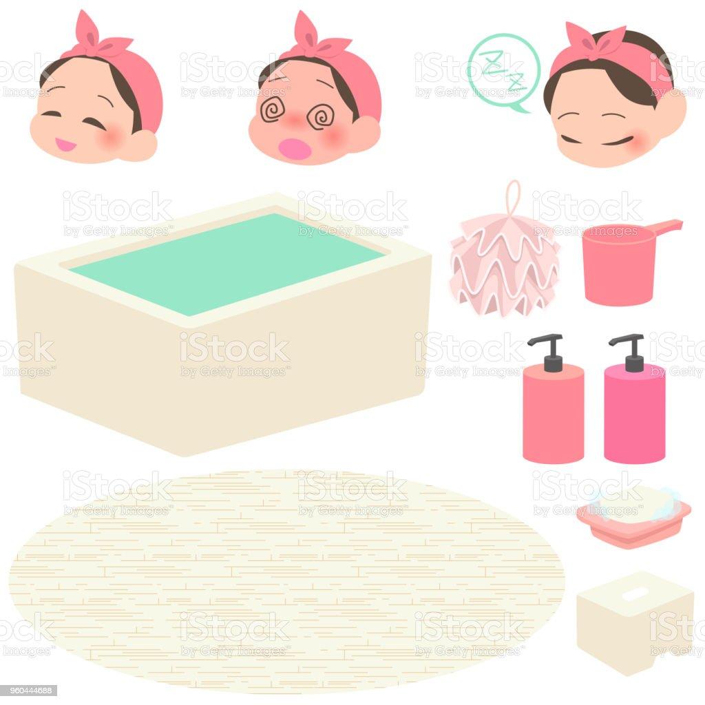 お風呂・ バスグッズを取る女性設定 ベクターアートイラスト