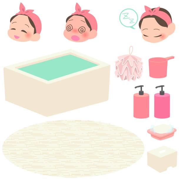 bildbanksillustrationer, clip art samt tecknat material och ikoner med en kvinna som tar ett bad & bad varor set - japanese bath woman