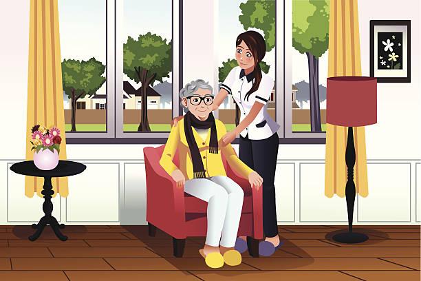 illustrations, cliparts, dessins animés et icônes de femme prenant soin d'une femme senior - gériatrie