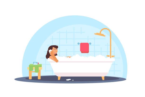 stockillustraties, clipart, cartoons en iconen met vrouw die schuim bad vector illustratie - cell phone toilet