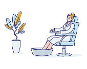 Woman taking foot bath. Relaxed female enjoying spa procedure for legs care. Beauty, wellness and recreation concept. Cartoon lady soak feet on hot water. Linear vector illustration