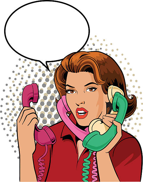 Woman Talking on Phone - Retro Style All images are placed on separate layers. They can be removed or altered if you need to. Some gradients were used. No transparencies.  switchboard operator vintage stock illustrations