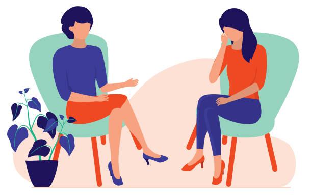 ilustrações de stock, clip art, desenhos animados e ícones de woman talking to a psychotherapist or psychologist. marriage counseling and stress therapy sessions concept. vector flat cartoon illustration. - deceção