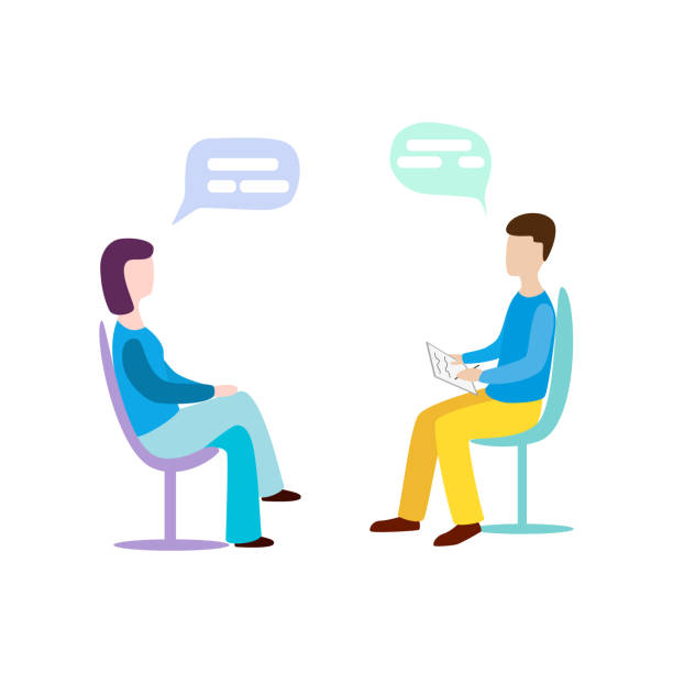 Woman talking to psychotherapist or psychologist and answer questions. vector art illustration