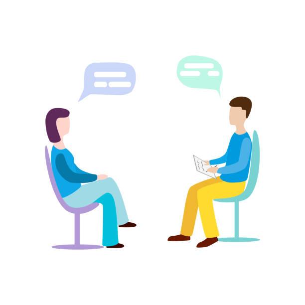 ilustrações, clipart, desenhos animados e ícones de mulher a falar com o psicoterapeuta ou psicólogo e responder a perguntas. - profissional de saúde mental