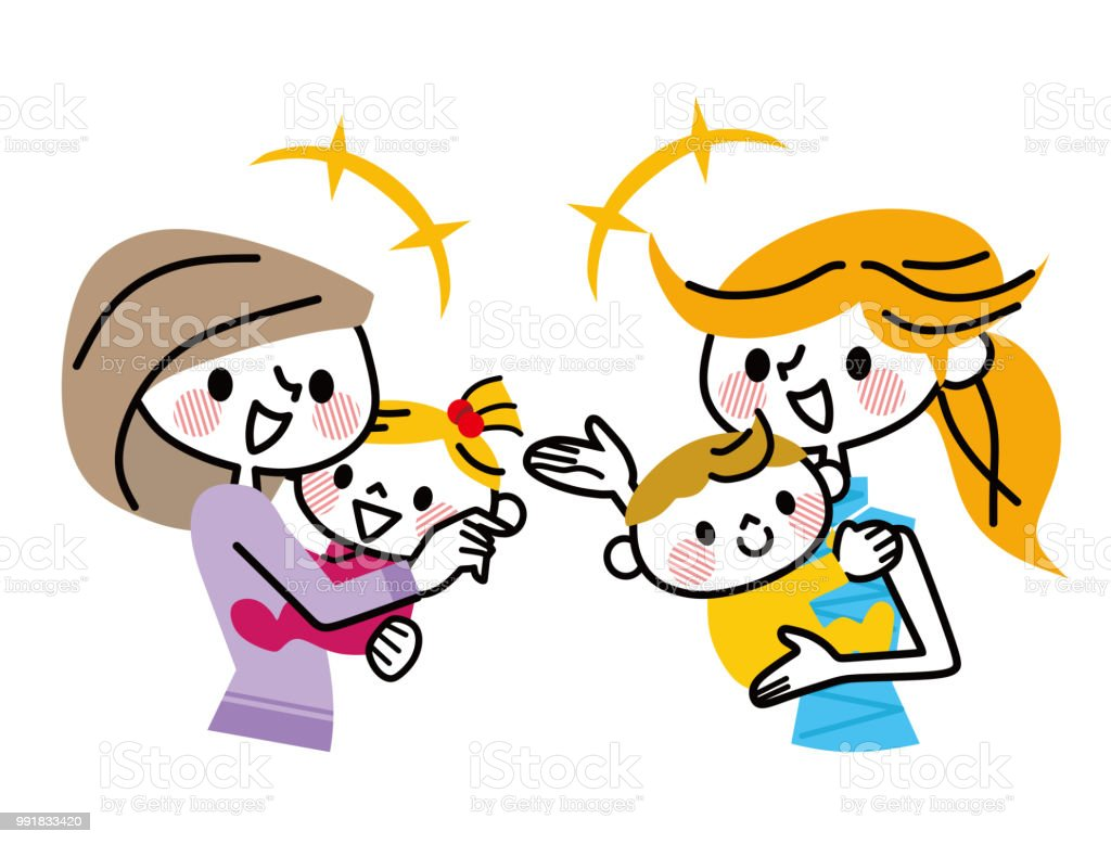A woman talking while holding a baby. vector art illustration