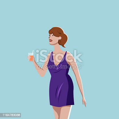 Woman in short dress tasting drink at the bar or beach, vector illustration