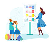Young Woman Stand with Pointer at Billboard with Infographics Segregation Garbage Type Teach Kids how Correctly to Determine Paper, Plastic, Organic and Glass Litter Cartoon Flat Vector Illustration