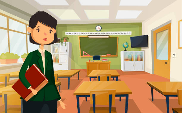 frau lehrer an der uni oder schule klassenzimmer - klassenzimmer stock-grafiken, -clipart, -cartoons und -symbole
