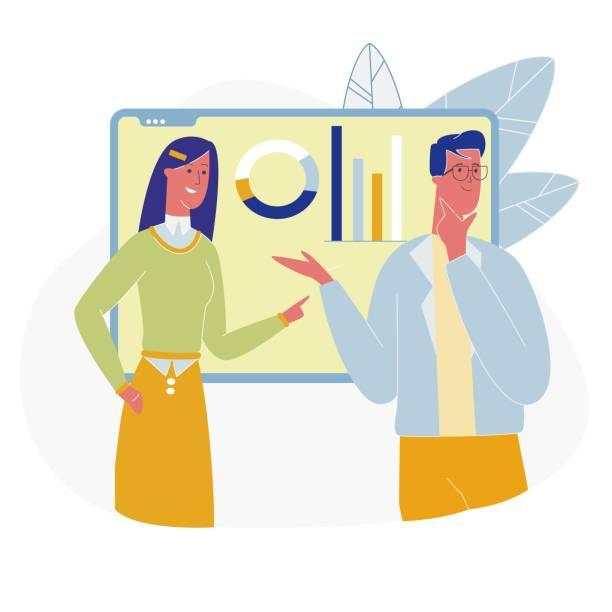 frau lehrer charakter fragen lektion im klassenzimmer - standlautsprecher stock-grafiken, -clipart, -cartoons und -symbole