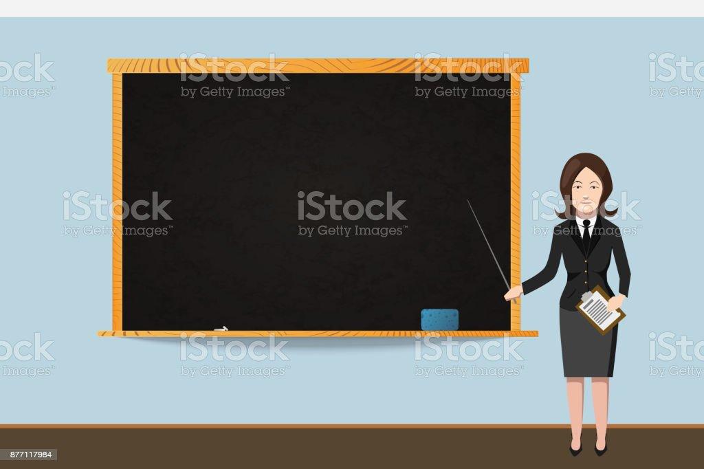 Ilustración de Profesor De La Mujer En Traje Negro Con Pizarra ...