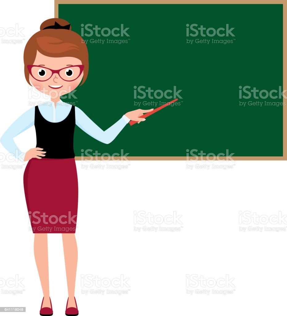 Woman teacher in full length standing at the school blackboard and holding a pointer - ilustración de arte vectorial