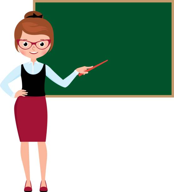 Woman teacher in full length standing at the school blackboard and holding a pointer vector art illustration