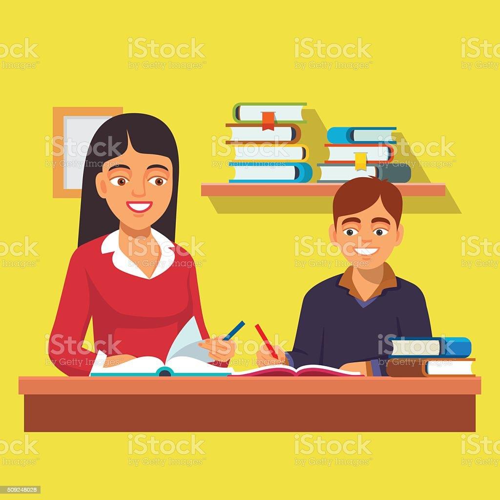 女性教師 家庭教師 チューター制度 少年キッドご自宅で ベクターアートイラスト