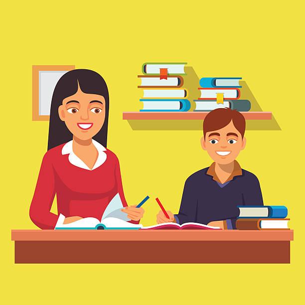 女性教師 家庭教師 チューター制度 少年キッドご自宅で - 作文の授業点のイラスト素材/クリップアート素材/マンガ素材/アイコン素材