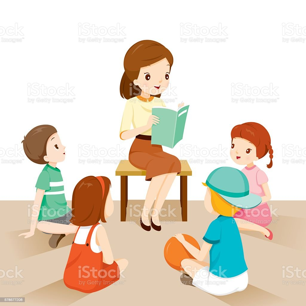 Woman Teachers Telling Story To Students Stock Vector Art -2275