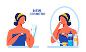 Cartoon Woman Customer Character near Mirror Testing New Cosmetics for Face and Body with Innovative Formula Consisting from Nano Particles and Natural Ingredients. Vector Flat Illustration