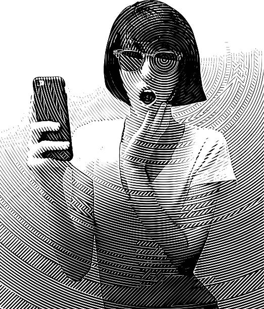 woman texting on smart phone with surprised expression - communication problems stock illustrations, clip art, cartoons, & icons