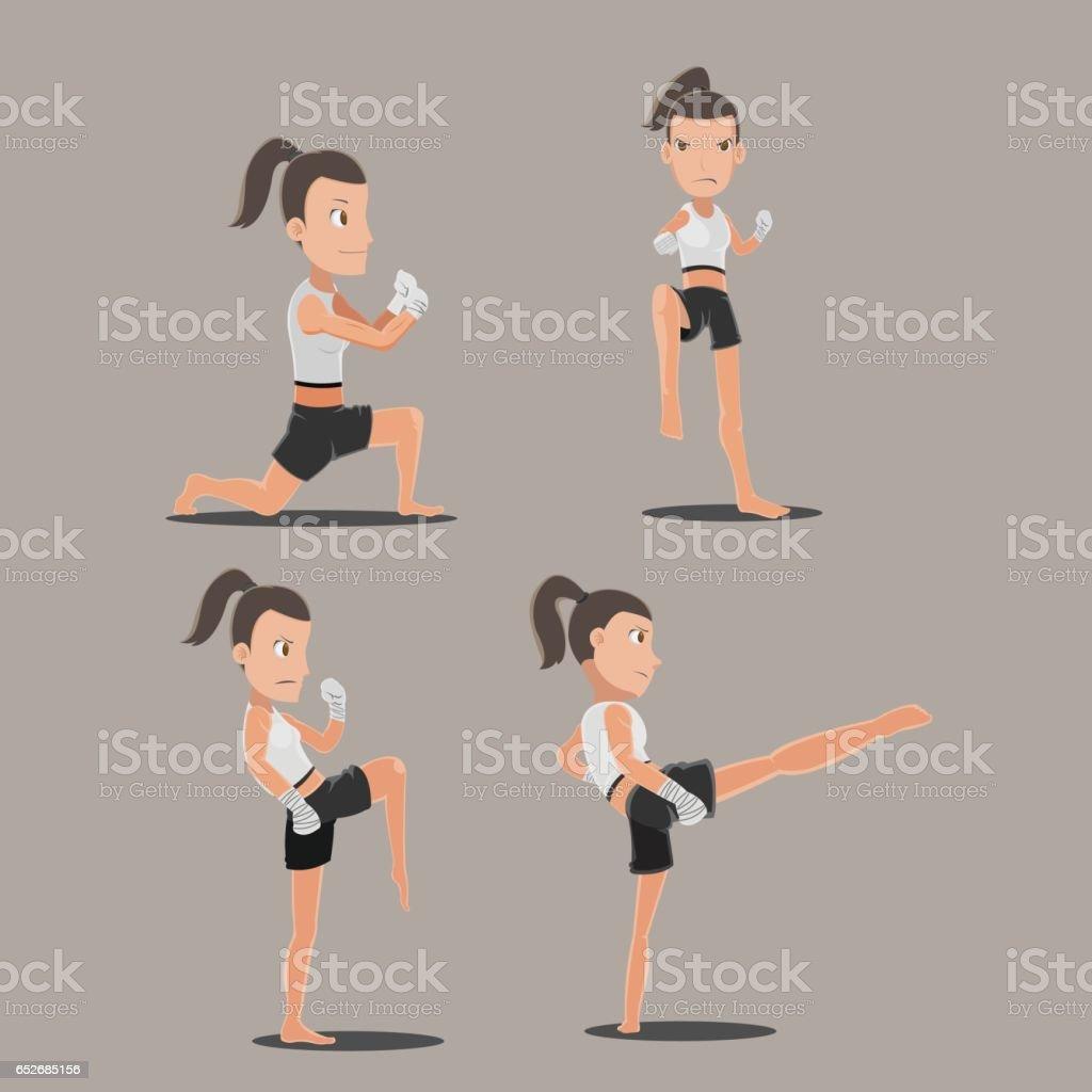 Woman Thai Boxing Action Set Vector