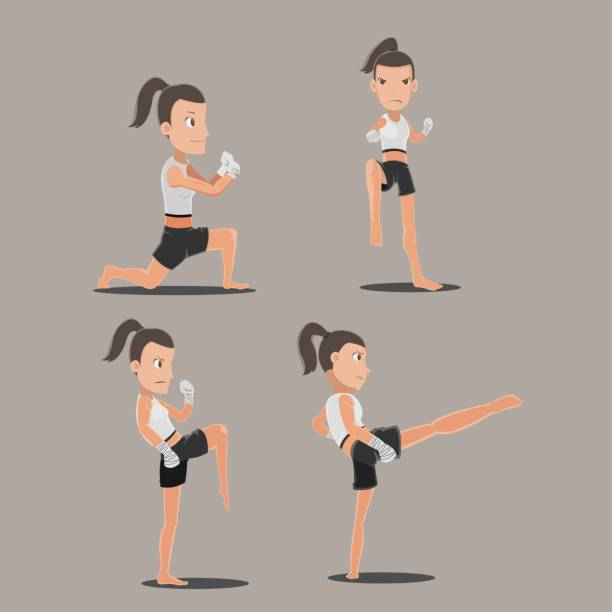 stockillustraties, clipart, cartoons en iconen met woman thai boxing action set vector - kickboksen