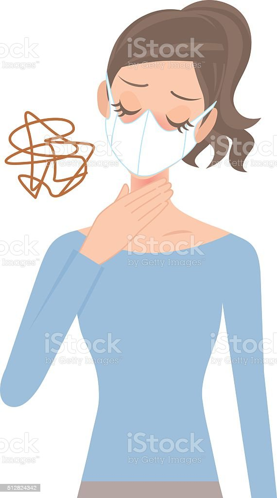 woman that a throat aches vector art illustration