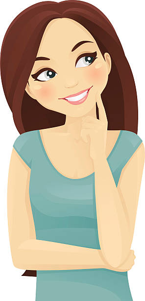 ilustraciones, imágenes clip art, dibujos animados e iconos de stock de mujer pensando - cabello castaño