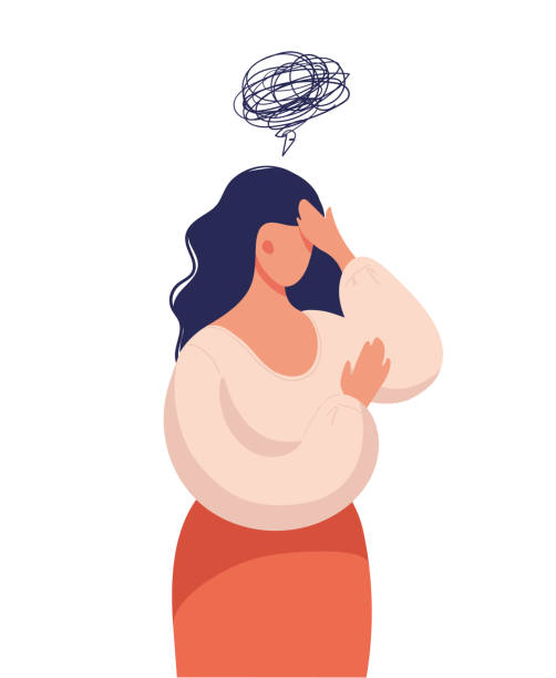 A woman thinks over a problem, suffers from obsessive thoughts, headache, unresolved issues, psychological trauma, depression. Flat vector illustration. A woman thinks over a problem, suffers from obsessive thoughts, headache, unresolved issues, psychological trauma, depression. Flat vector illustration chronic illness stock illustrations