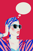 Girl dreaming. Stylish fashionably dressed woman is thinking. Attractive young lady isolated. Think dialog speech bubble.